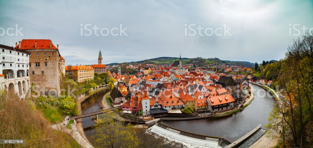 Panoramic aerial view over the old Town of Cesky Krumlov, Czech Republic. UNESCO World Heritage Site. stock photo