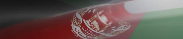 Panoramic Afghani Flag, Flag of Afghanistan - 3D Illustration Stock Footage stock photo
