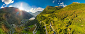 istock Panoramic and drone landscape of Geiranger fjords, Geirangerfjord, Norway 1279503830