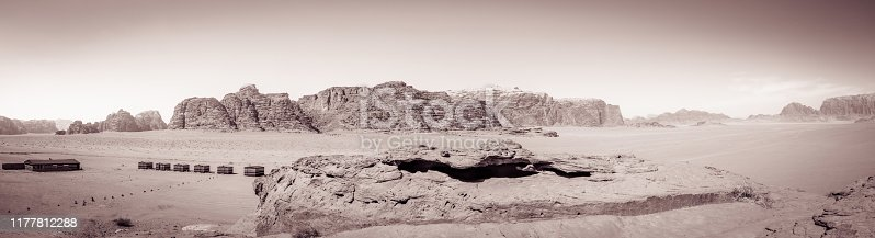 Panoramic Approach to Wadi Rum - Shapes of Mountains (Vintage BW)