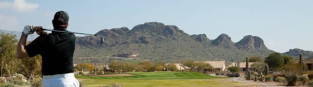 Panoramic Arizona Golfer stock photo