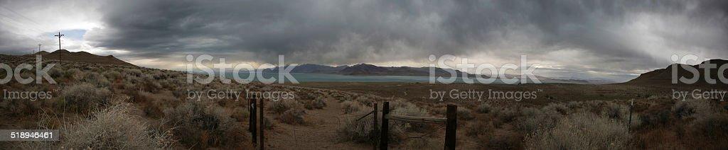 Panoramic at Pyramid Lake, Utah stock photo