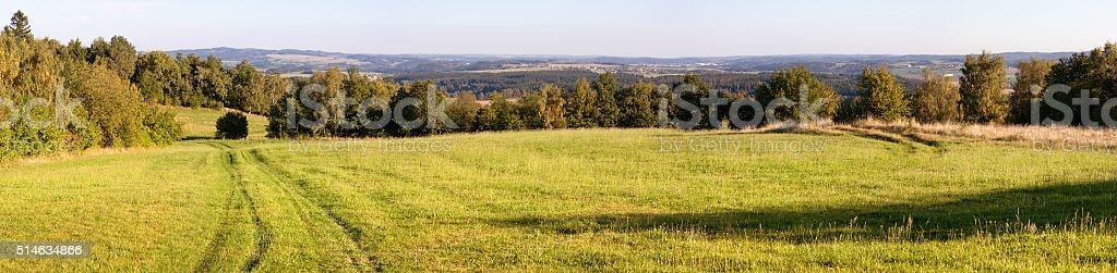 Panoramic autumnal scenery from Bohemian and Moravian highlands stock photo