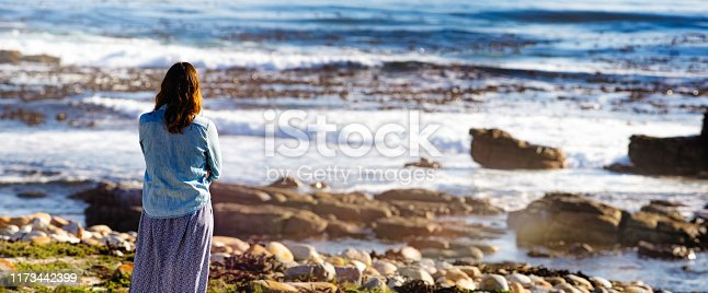Panoramic back lit rear view of female looking pensively at the sea with a lens flare and a nice rock beach with greenery.
