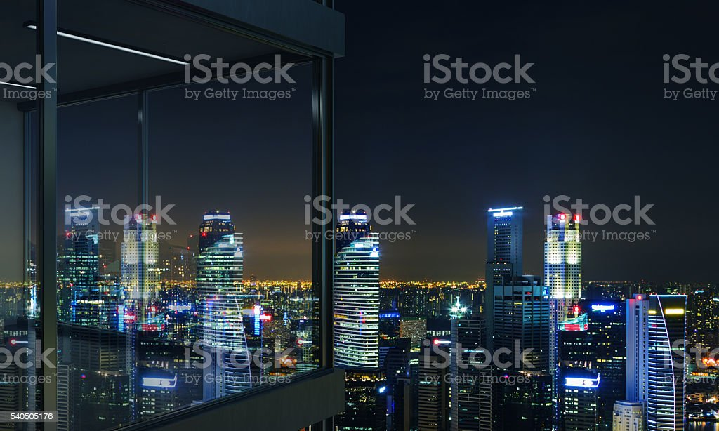 Panoramic Balcony At Night Stock Photo More Pictures Of Apartment