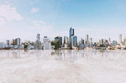 693903950 istock photo Panoramic Bangkok cityscape with empty concrete floor 813520570