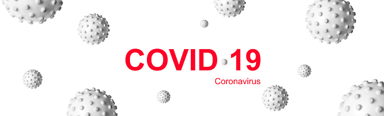 Panoramic banner for COVID-19 coronavirus header, 3d illustration. Gray germs and inscription COVID coronavirus on white background. Concept of novel SARS-CoV-2 corona virus outbreak and pandemic.
