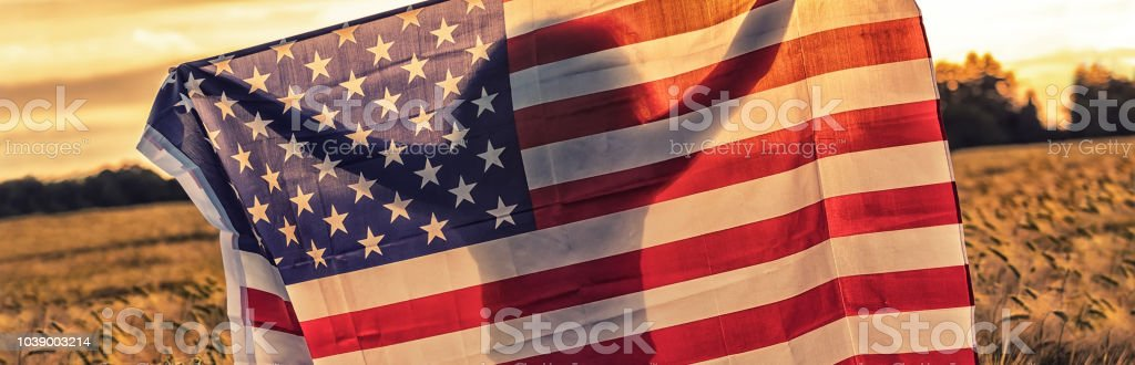 Panoramic banner silhouette of African American girl teenager female young woman in field of wheat or barley crops holding USA stars and stripes flag in golden sunset evening sunshine stock photo