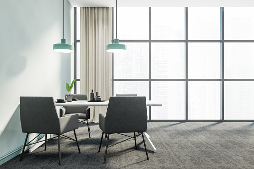 Panoramic Blue Dining Room Interior Grey Chairs Stock Photo Download Image Now Istock