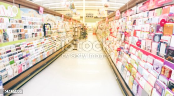 istock Panoramic blurry background variety of greeting cards on display at American supermarket 1065395220