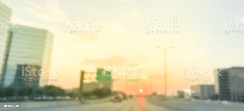 Panoramic Blurry Industrial Background Highway Traffic With Downtown