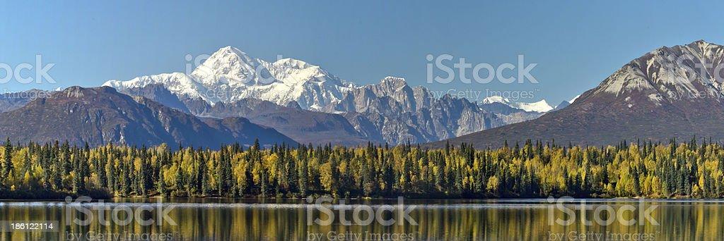Panoramic Byers Lake Alaska and Mount McKinley during Fall stock photo
