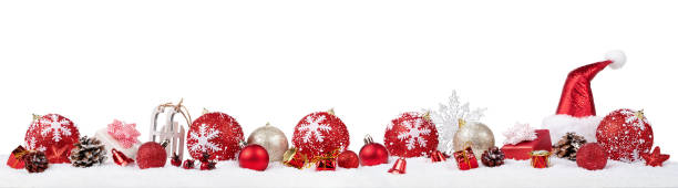 panoramic christmas ornaments background - banner web foto e immagini stock
