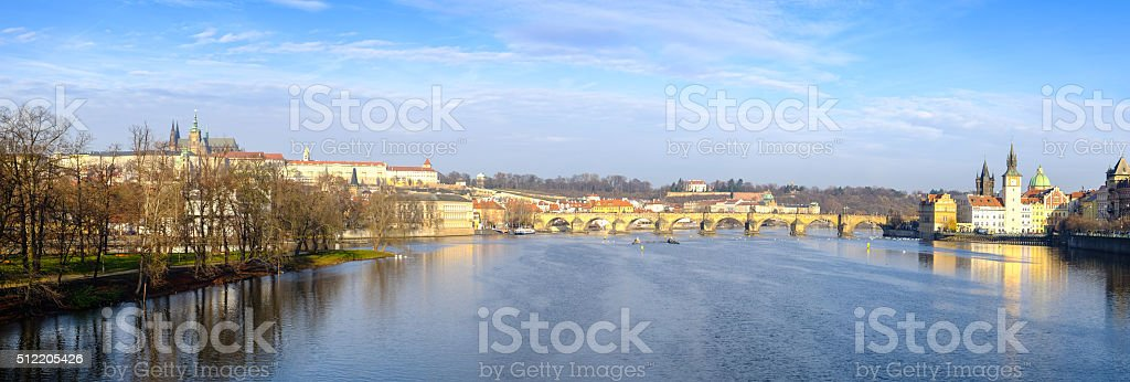 Panoramic citiscape of Prague casle, Charles bridge and river stock photo