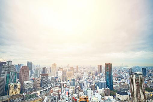 Panoramic city skyline bird eye aerial view with sunrise