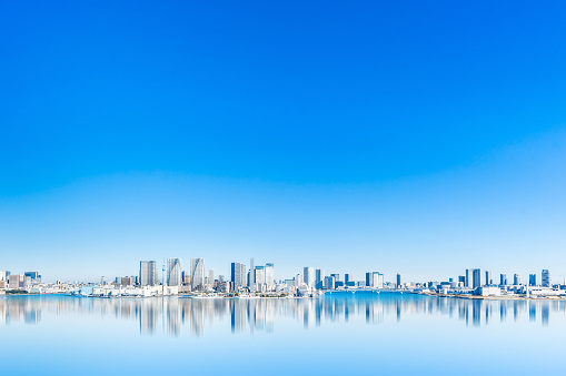 panoramic city skyline of tokyo bay in odaiba, Japan