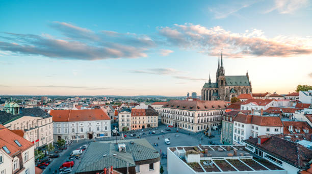 Panoramic  city view  in Brno in Czech Republic Camera, Famous Place, Tower, Old Town,  International Landmark brno stock pictures, royalty-free photos & images