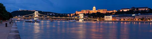 Panoramic cityscape landmark royal Buda castle, chain bridge stock photo
