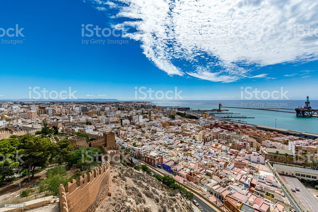 Panoramic cityscape of Almeria (Almería) Spain stock photo