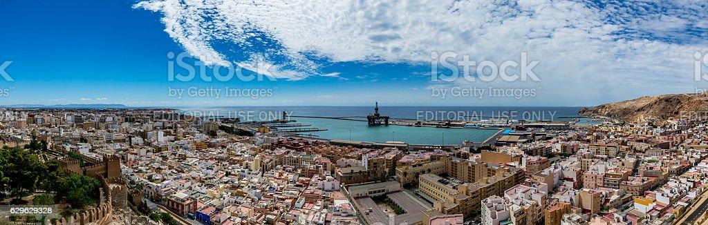 Panoramic cityscape of Almeria, view from the Alcazaba stock photo
