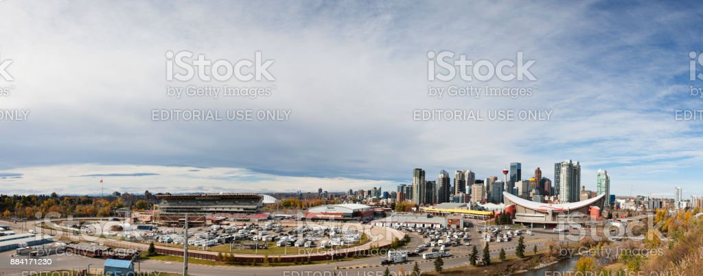 Panoramic Cityscape of Calgary, Alberta, Canada stock photo