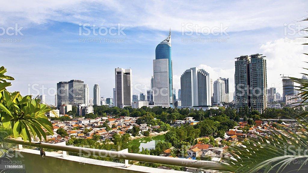 Panoramic cityscape of Indonesia capital city Jakarta stock photo