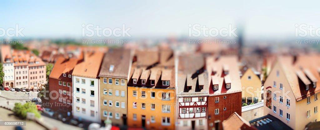 Panoramic cityscape of Nuremberg, Bavaria,  Germany stock photo