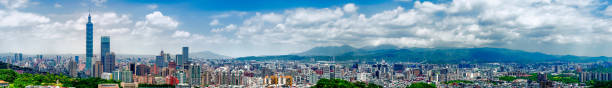 Panoramic cityscape of Taipei city skyline and skyscraper. stock photo