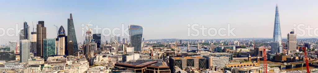 Panoramic cityscape of the corporate office buildings of the City of London, Canary Wharf and the Shard stock photo