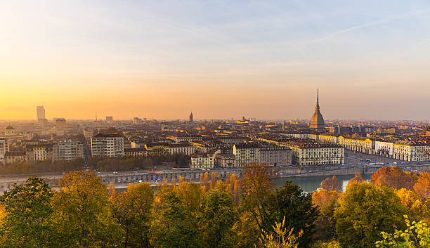 Panoramic cityscape of Turin from above at sunset stock photo