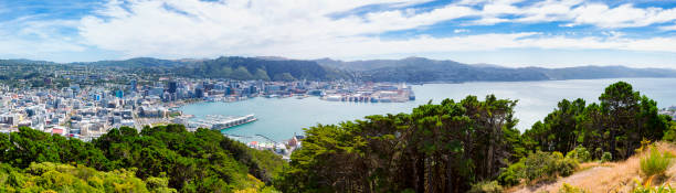 Panoramic Cityscape of Wellington, New Zealand High angle panoramic cityscape shot of Wellington the capital city of New Zealand. Multiple files stitched. wellington new zealand stock pictures, royalty-free photos & images