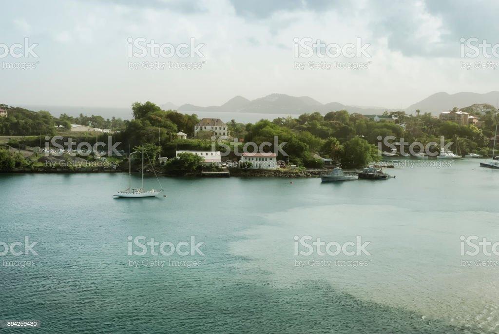 Panoramic coastal view of Saint Lucia, Eastern Caribbean Sea royalty-free stock photo