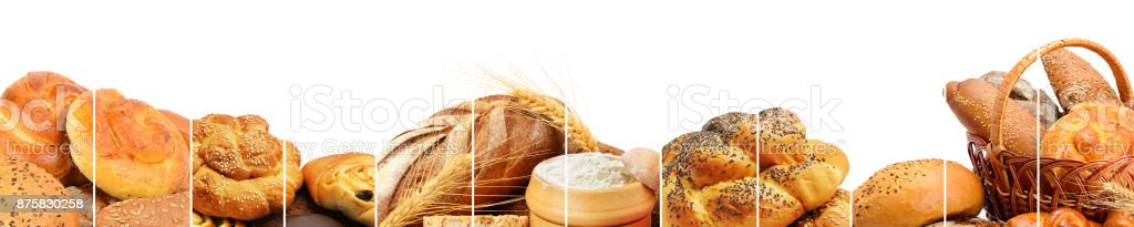 Panoramic collection of bread products. stock photo