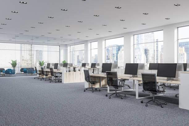 市内のパノラマの会社オフィスのキュービクル - オフィス ストックフォトと画像