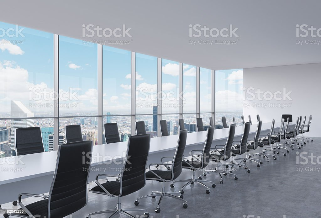 Panoramic conference room in modern office, New York City view stock photo