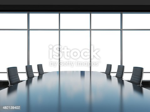 Panoramic conference room in modern office, copy space view from the windows. Black leather chairs and a black table. 3D rendering.