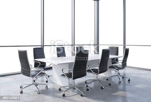 Panoramic conference room in modern office, copy space view from the windows. Black chairs and a white table. 3D rendering.