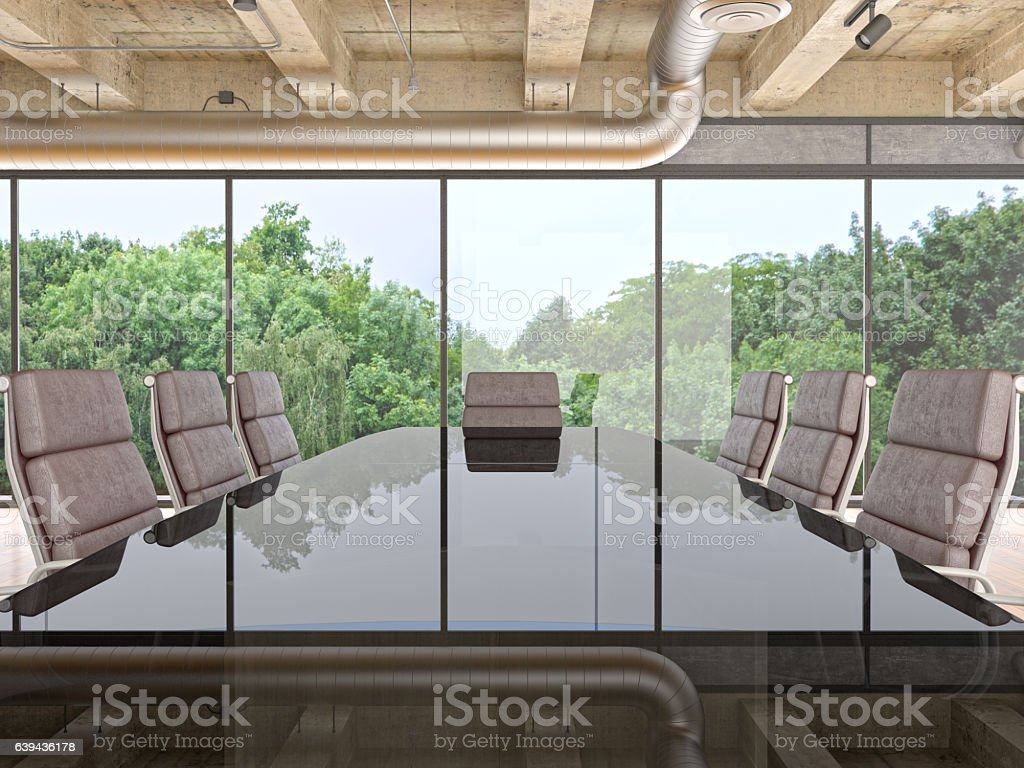 Panoramic conference room in modern office stock photo