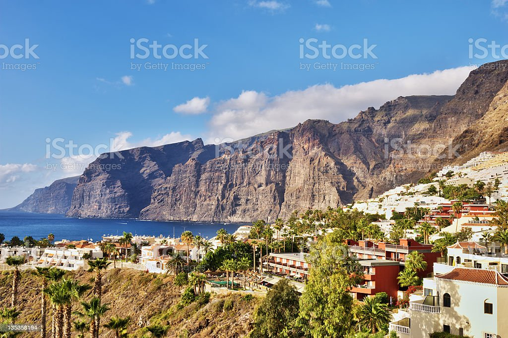 Panoramic daytime view of Los Gigantes, Tenerife stock photo