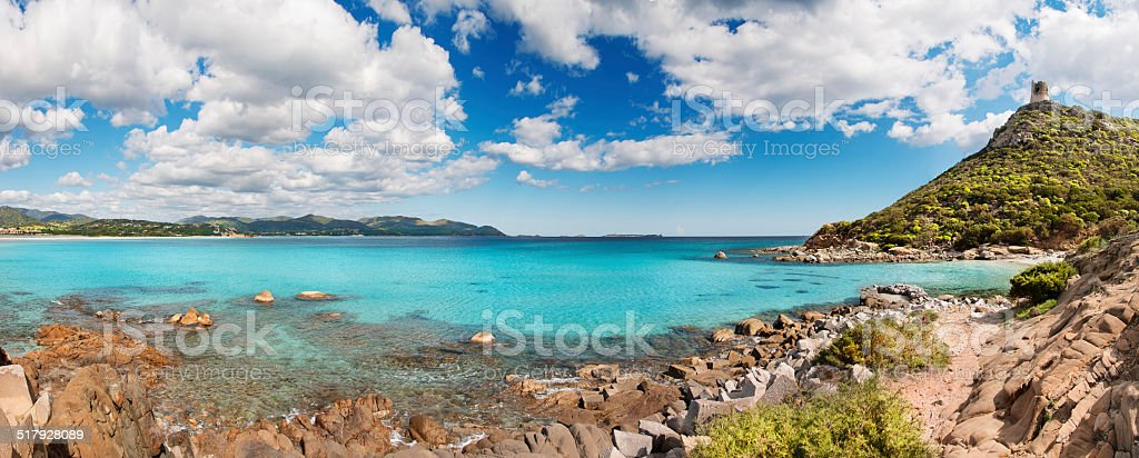 Panoramic desert seascape with crystal clear sea stock photo