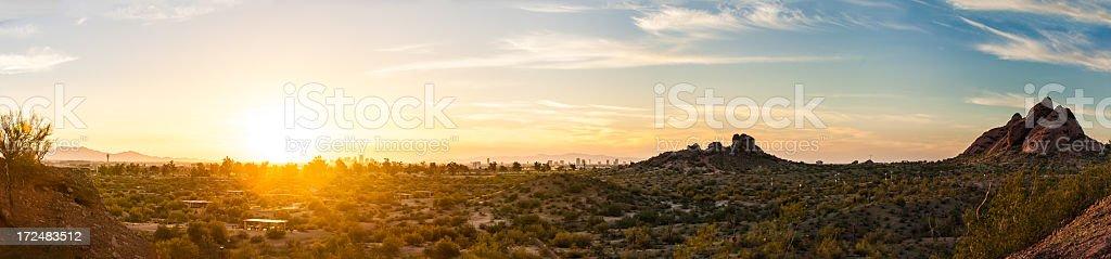 Panoramic Desert Sunset royalty-free stock photo