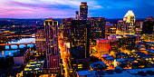 Aerial drone views above Blue Hour Sunset over Austin Texas Cityscape