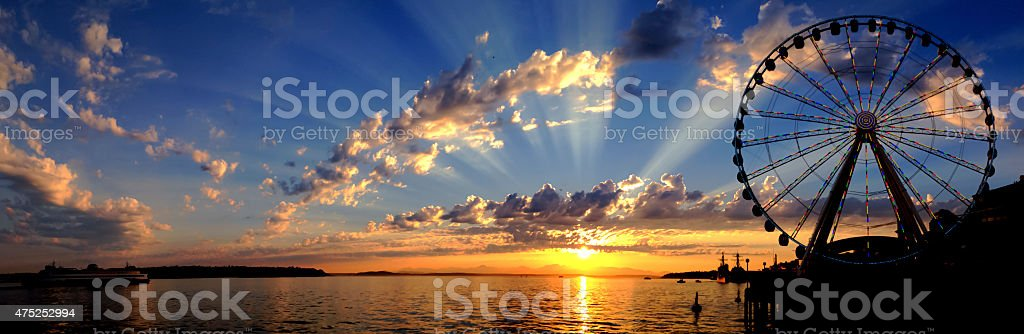 Panoramic Elliott Bay stock photo