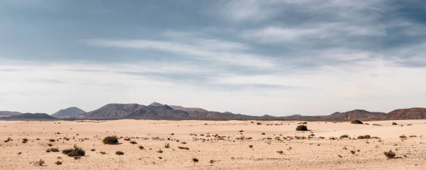 Panoramic empty desert background Panoramic empty desert background with copy space volcanic landscape stock pictures, royalty-free photos & images