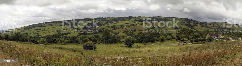 Panoramic English Countryside Scene, Gloucestershire royalty-free stock photo