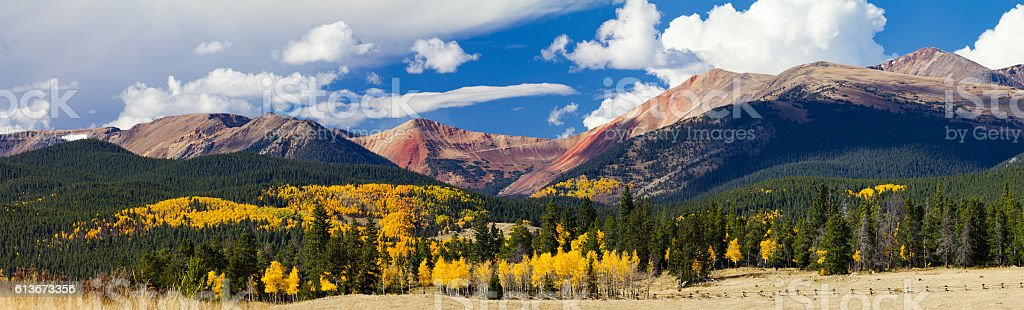 Panoramic Fall Landscape Colorado Rocky Mountains stock photo