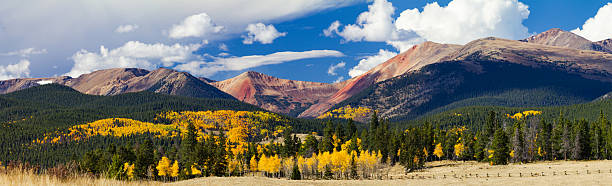 Panoramic Fall Landscape Colorado Rocky Mountains stock photo