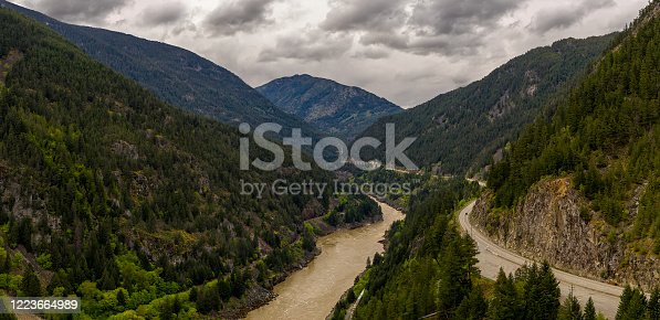 istock Panoramic format photo of the fresh spring green foliage in the Lillooet-Fraser Canyon, British Columbia, Canada 1223664989