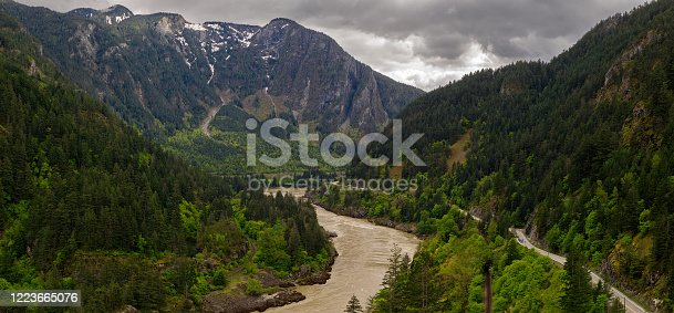 istock Panoramic format photo of the fresh spring green foliage in the Lillooet-Fraser Canyon, British Columbia, Canada 1223665076