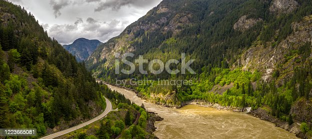 istock Panoramic format photo of the fresh spring green foliage in the Lillooet-Fraser Canyon, British Columbia, Canada 1223665081